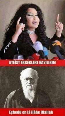 Bülent Ersoy: Ateist erkeklere bayılırım. Darwin: Eşhedü en la ilahe illallah...  #komik #mantak