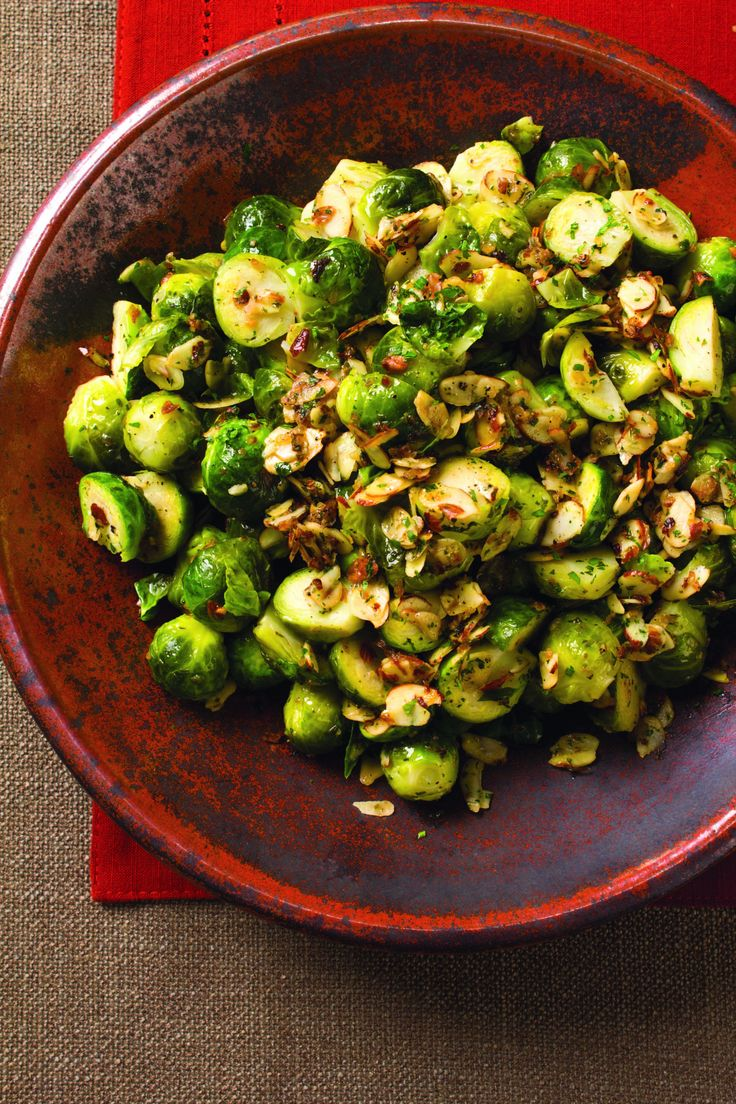 Brussels Sprouts Amandine - Brussels sprouts are tossed in lemon, butter, parsley, and toasted almonds for a twist on the classic dish. This would be a hit as a side.