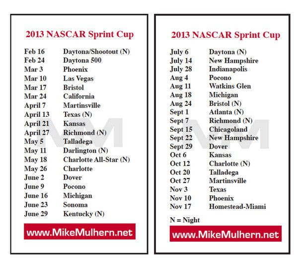 2013 Sprint Cup Schedule | 2011 NASCAR Sprint Cup series | NASCAR Racing Breaking News: Trackside ...