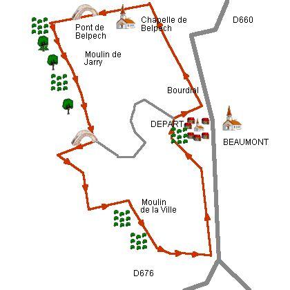 Beaumont, circuit du Moulin de la ville