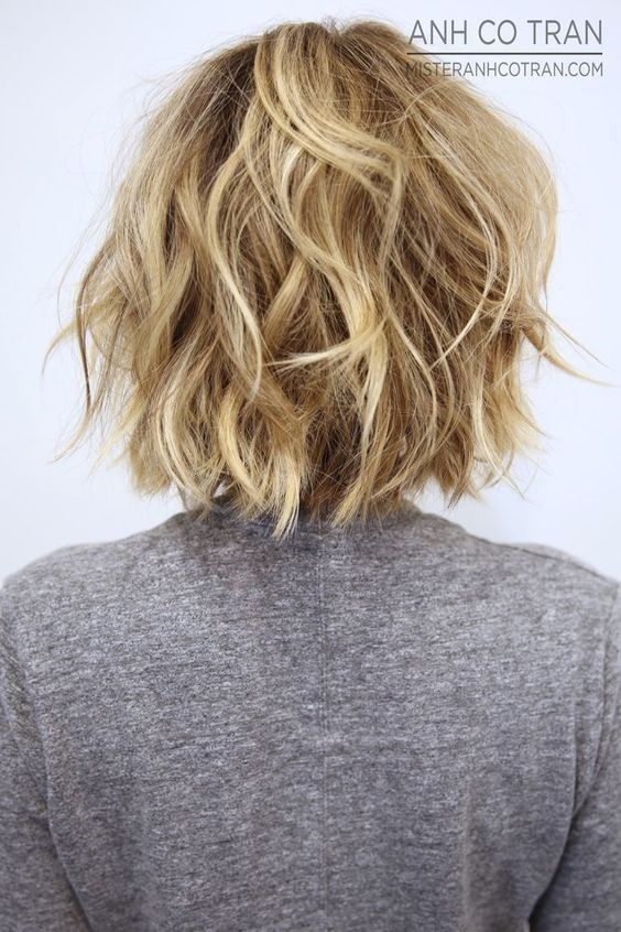 Back view layered messy bob hairstyle