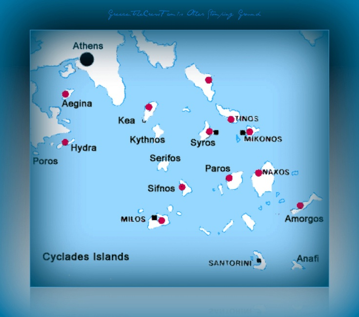 The Cyclade Islands Greece Map