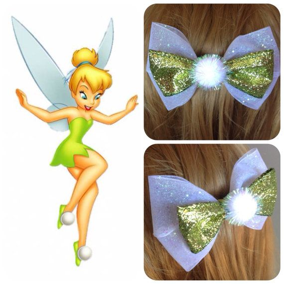 Handmade Hair Bow. Disney's Tinkerbell. by HairBowObsessions