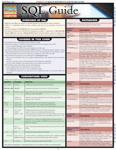 SQL GUIDE QuickStudy® $4.95 4-page laminated guide includes: ·overview of SQL ·databases ·delimiters/operators ·order of operations ·DDL ·DML  #SQL #Computer