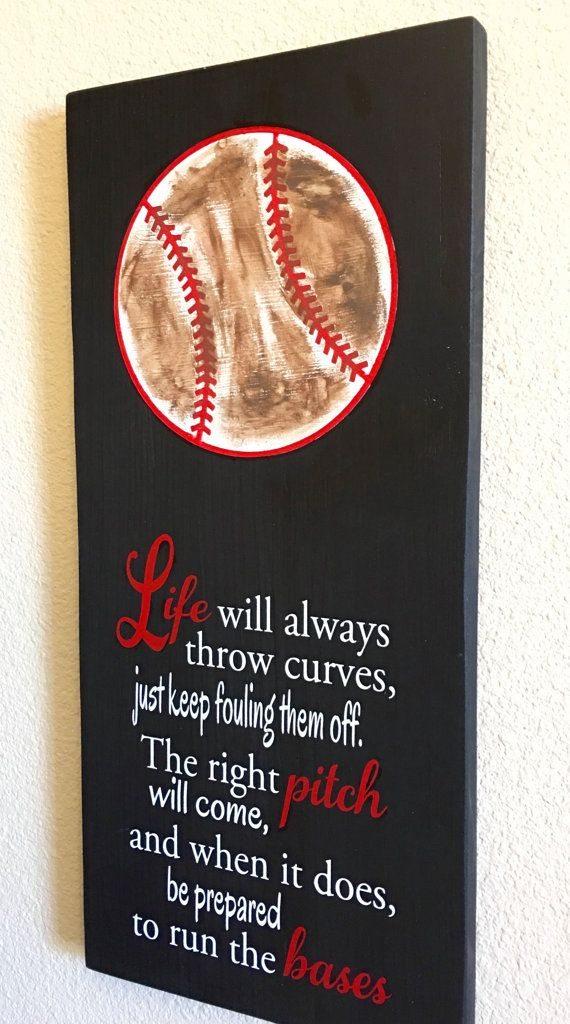 Decoration for the Baseball or Softball Fan!  Beautifully Crafted in Solid Wood, Black Board and a Painted Baseball!  It features the quote Live will always throw curves, just keep fouling them off. The right pitch will come, and when it does, be prepared to run the bases. Measures, 10x 20approx., and has a saw tooth hanger in the back for hanging in your wall or special space. ***Number and Name can be added, please use this link for customization: https://www.etsy.com/listing...