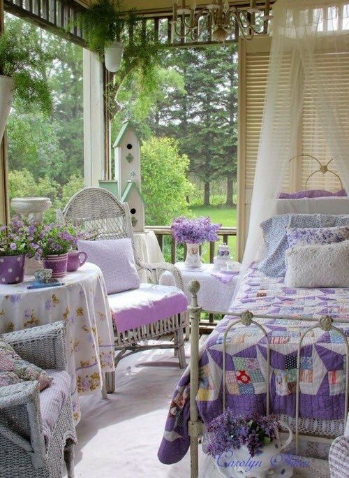 Purple and green shabby chic patio. Deanna this looks like you so much!!!