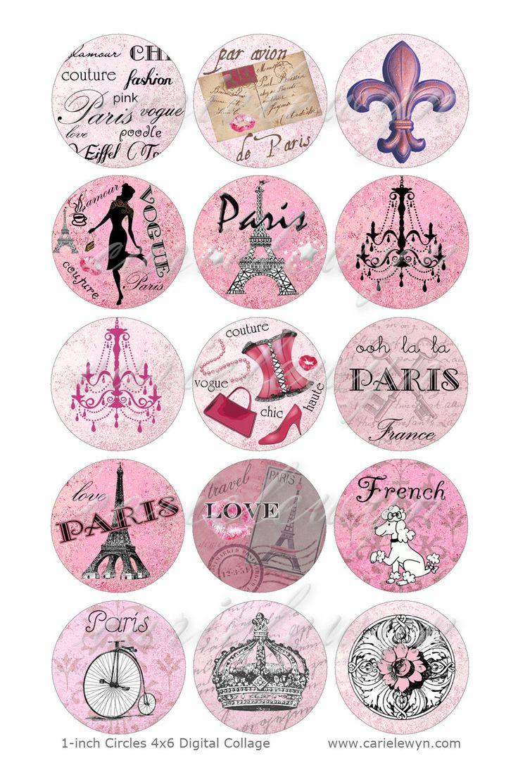 Pink Paris Bottlecap Images / French Poodle, Eiffel Tower, Vintage Postcard Digital Collage / Printable 1 Inch Circles For Bottle Caps. $1,75, via Etsy.