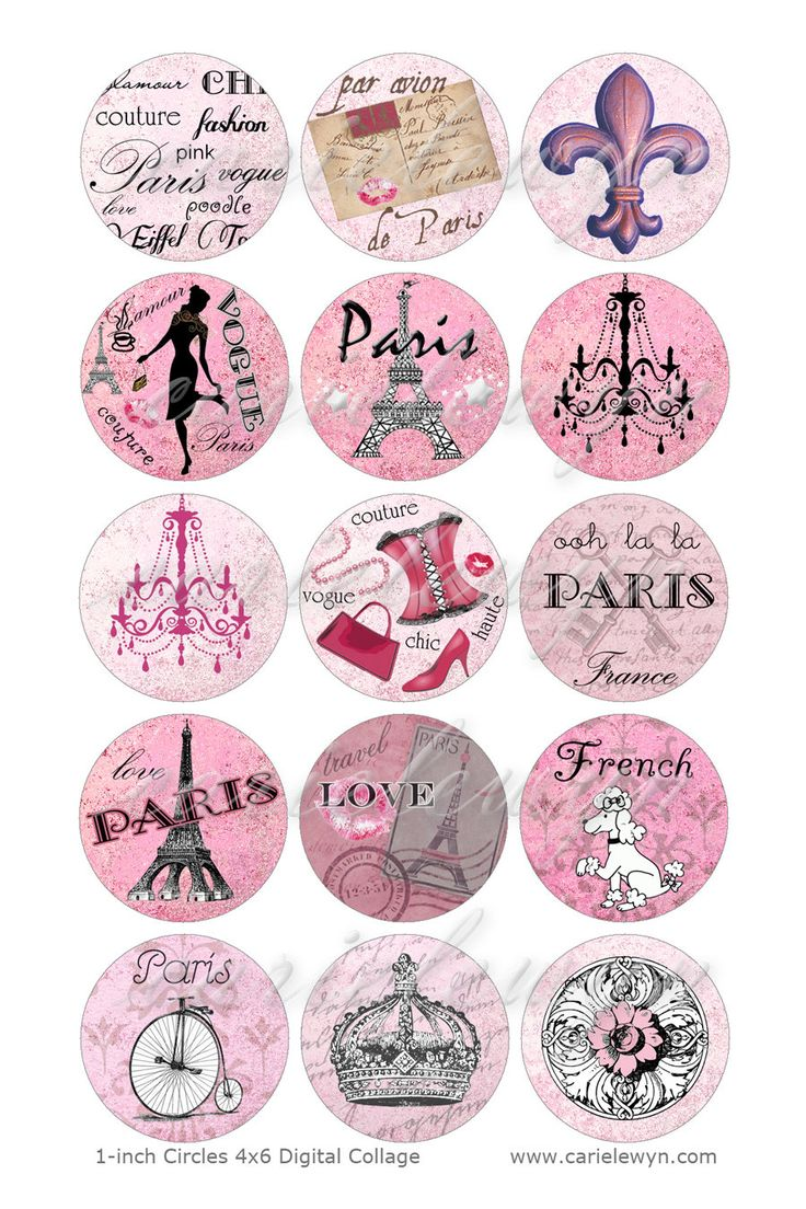 Bottlecap Paris Images / rose Français caniche Tour par carielewyn