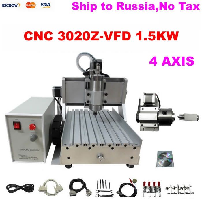 1290.00$  Buy here - http://aliyo7.worldwells.pw/go.php?t=32736372533 - (Russain no tax!) 4 Axis CNC 3020 Mini CNC Router, 4axis Engraving Machine with Ball Screw 1500W Spindle Motor for metal milling 1290.00$