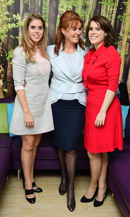 Joined by daughters Princess Beatrice, left, and Princess Eugenie, the Duchess of York met young cancer patients and their families at the Teenage Cancer Trust's young persons unit at University College Hospital, London.