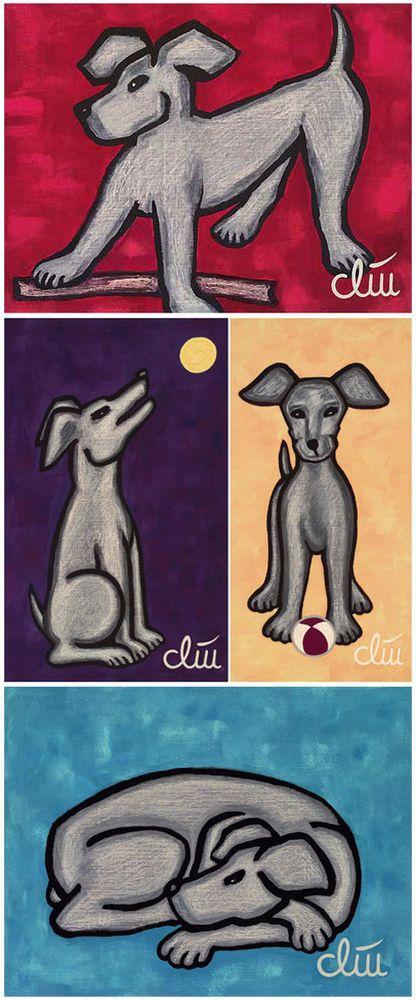 JACQUELINE DITT - Hunde - Vier A4 DRUCKE n.Gemälde Bilder Hund Giclee dogs Tier