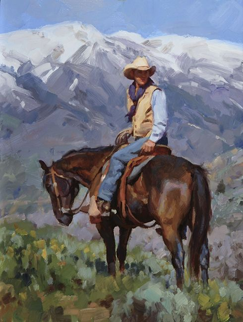 """Checking the Range"" by Jason Rich (Cowboy Artist)"