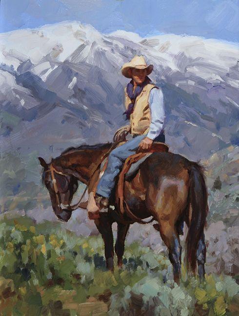 """Checking the Range"" by Jason Rich (Cowboy Artist)"