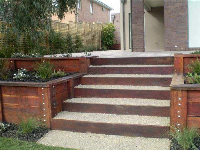 red gum sleeper retaining wall Google Search