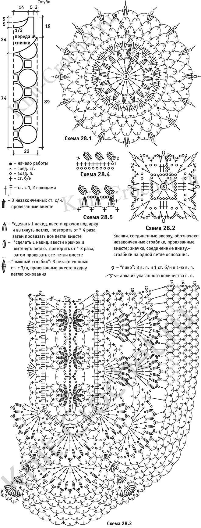 Μοτίβο, σχεδιαγραμμάτων κυκλωμάτων με βελονάκι πλεξίματος μεγέθους περιγραφή φόρεμα της floral μοτίβα 46-48.