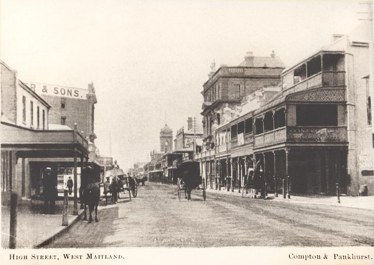 https://flic.kr/p/9cAkkn | High Street, West Maitland, NSW, Australia [c.1890's] | View along High Street, Maitland looking east. Capper & Sons is located on the left [it was the only building with a lift in West Maitland]. [Destroyed by fire in 1990.] Town Hall with clock, centre, and three-storey Commercial Banking Company building to the right. Horse-drawn vehicles are in the street. Compton & Pankhurst photograph. This image was scanned from a photograph in the Newcastle and Hunter…