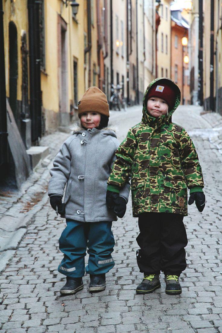 Kids wearing Carhartt, Mini Rodini and Makia on their trip to Stockholm on January 2014.