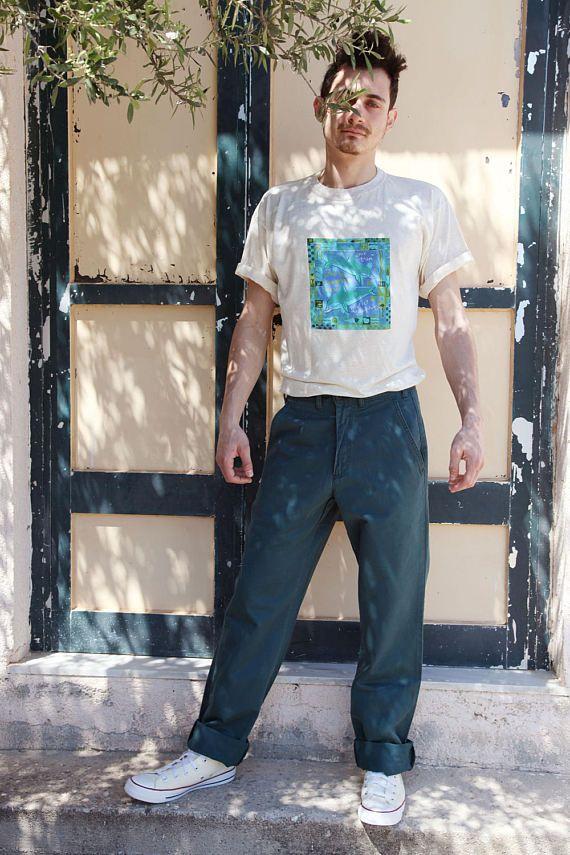 Vintage Lee Cooper cotton petrol blue-green high waist