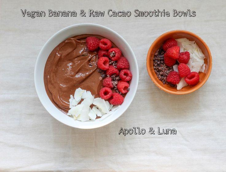vegan banana & raw cacao smoothie bowl   apolloandluna.com