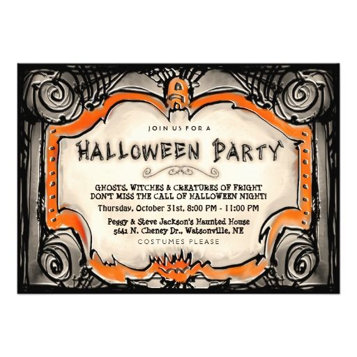 20 best halloween party invitation templates images on pinterest halloween party invite black orange border stopboris Images