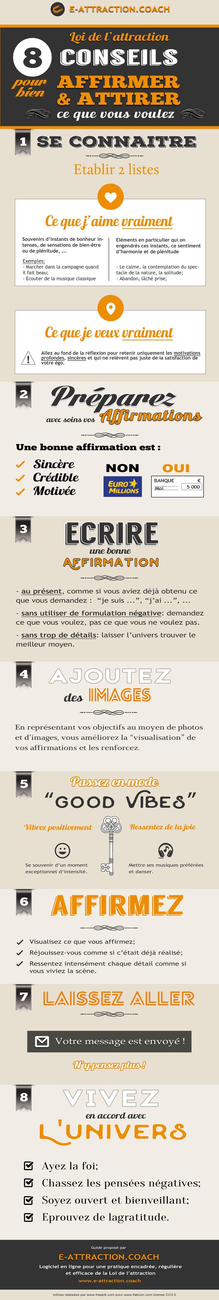 Conseils pour affirmer et pratiquer la Loi de l'Attraction, par www.e-attraction.coach, logiciel en ligne pour une pratique régulière et efficace de la Loi de l'attraction