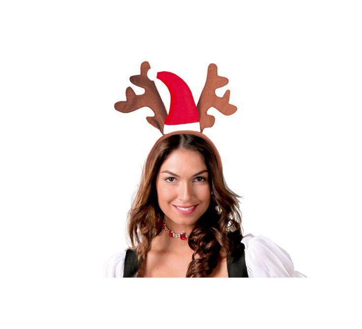 Diadema de gorro de Papá Noel y cuernos de Reno