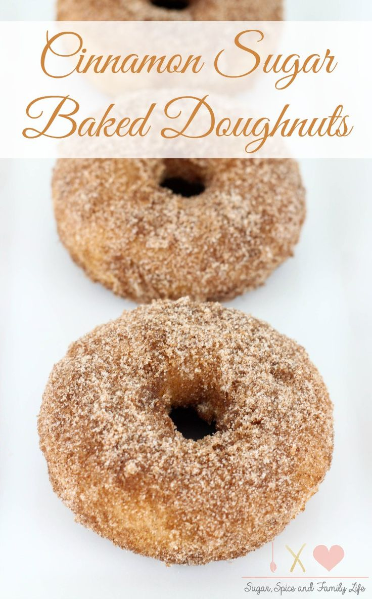 Cinnamon Sugar Baked Doughnuts are a delicious breakfast treat that everyone will love. These baked donuts are coated with cinnamon sugar for a sweet treat that is great with a cup of hot coffee. - Cinnamon Sugar Baked Doughnuts Recipe on Sugar, Spice and Family Life