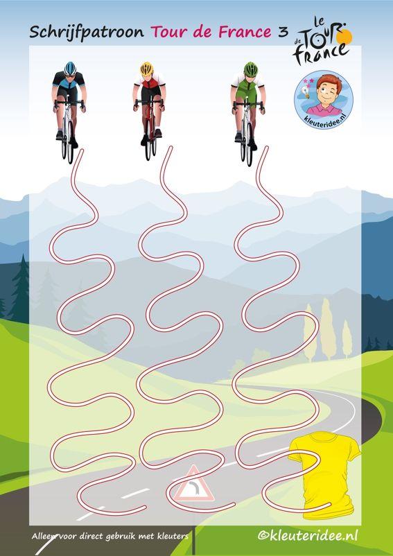 Schrijfpatroon, Tour de France 3, voor kleuters, kleuteridee.nl, Writing pattern free printable.