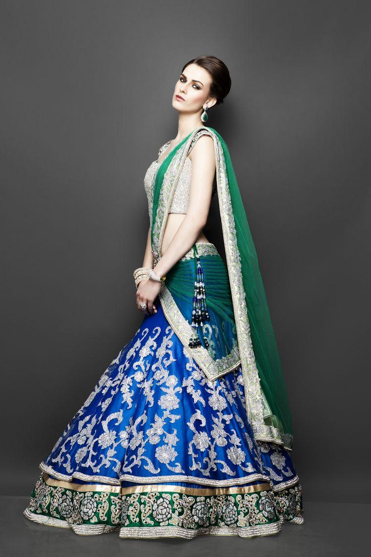 Indian Lehengas, blue bridal lehenga