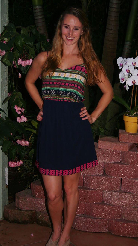 Navy Aztec Short Dress