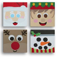 'Block Heads Christmas (4 Squares)' by Erin Graphic Art on Canvas