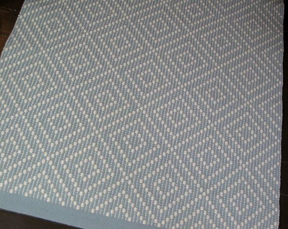 Flatweave Rug Blue and Cream Diamond by FitchStudioWeavers on Etsy, $750.00