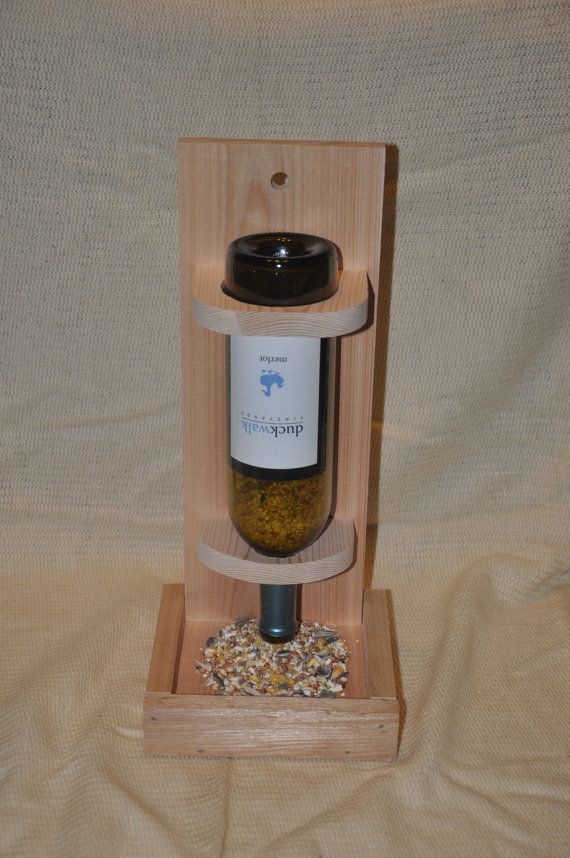 Wine bottle bird feeder, hanging bird feeder, repurposed, cedar