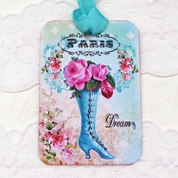 French Boot Tag Gift Hang Bridal Shower Party by EnchantedQuilling