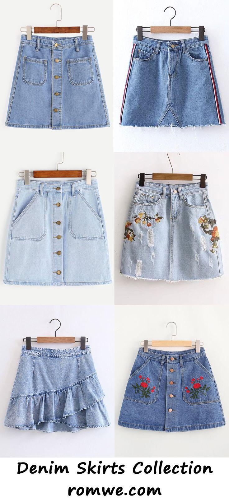 denim skirts collection 2017 - romwe.com