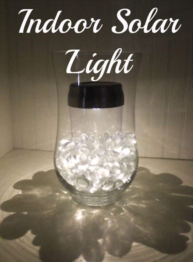 Indoor solar light Looks simple | Vase add solar light with glass beads to hide it.  Will a solar light work indoors?