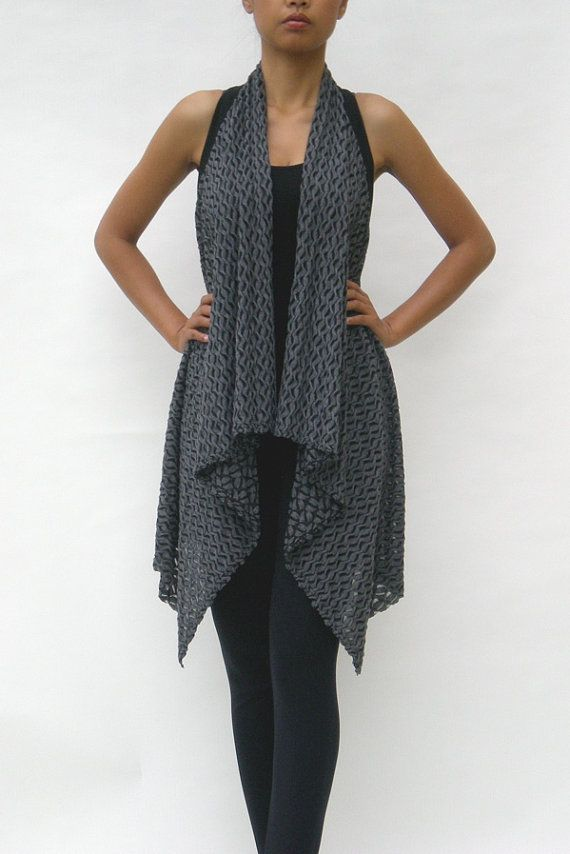 Womens Clothing  Draped Grey Vest Net Vest One by SawaneeStudio, $40.00
