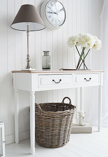Console tables for hall and living room furniture in grey, white and cream. The Suffolk white console table with drawers