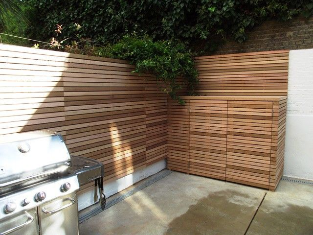 Two bay bin store slatted in Western Red Cedar.