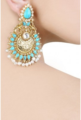 Amrapali gold turquoise pearl earrings