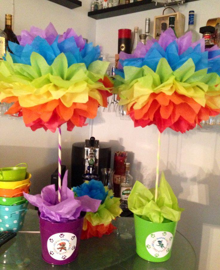 Rainbow / Paw Patrol pompom centerpieces