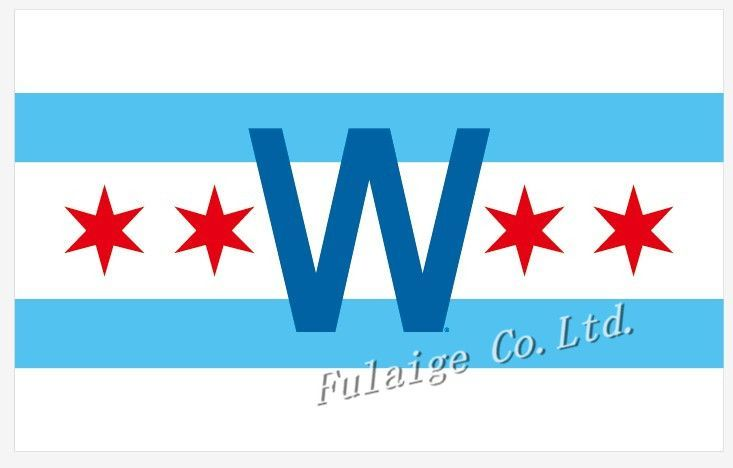 3x5FT MLB Chicago CUB W flag in chicago city flag center 100D Polyester Flag metal Grommet Free shipping