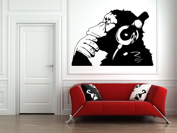 Banksy Dj Monkey Wall Art Vinyl Decal