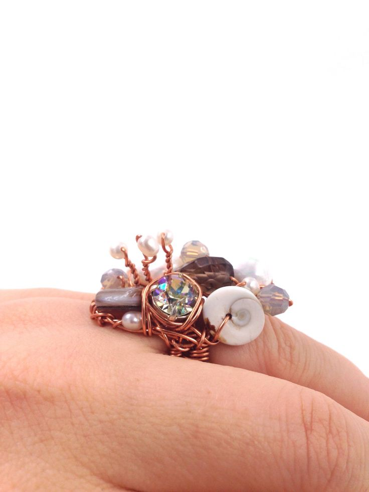 Pearl, Smoky Quartz and Rhinestone Copper Wire Ring, Bridal Sparkling Mother-of-Pearl and Snailhouse Ring by TrinesTreasures on Etsy