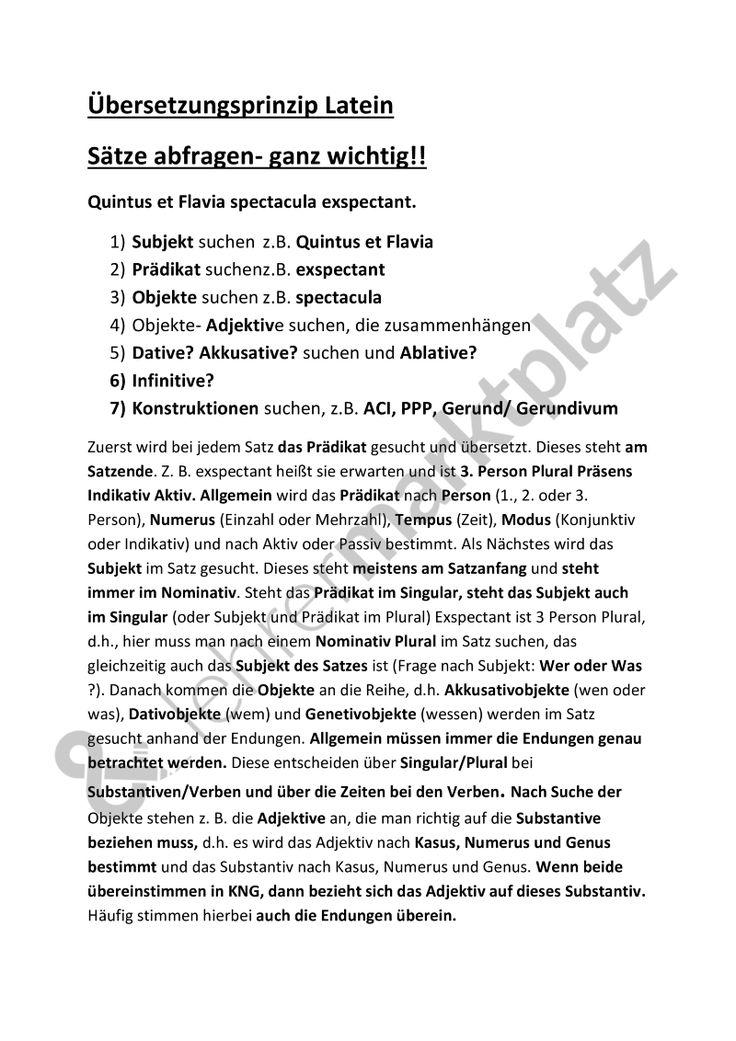 Übersetzungsprinzip in Latein allgemein