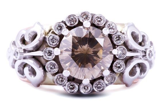 Natural round brilliant-cut brown and white diamond ring in white and rose gold completed with hand engraving by GALACIA DESIGNER JEWELLERY.