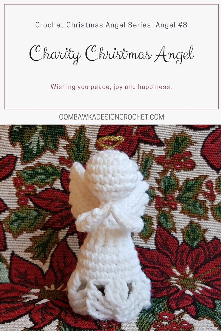 Charity - A Crochet Angel Ornament  Charity is the 8th Crochet Angel available in my Christmas Angel series  Yarn: Red Heart Super Saver  #redheartyarns  #joycreators  Hook: Furls Odyssey 4 mm (G) via @OombawkaDesign