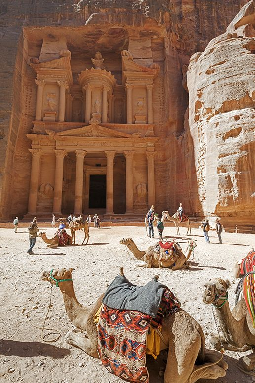 Petra-Treasury-with-Camels