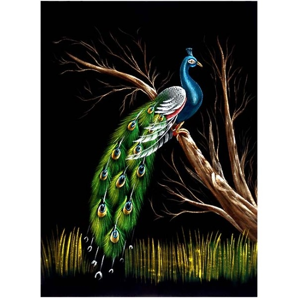The Beauty of Jungle - Velvet Painting: Velvet Paintings, Pure Velvet, Beautiful, Paintings Online, Velvet Velarium, Paintings Drawings, Black Velvet, Peacock Paintings, Velvet Art