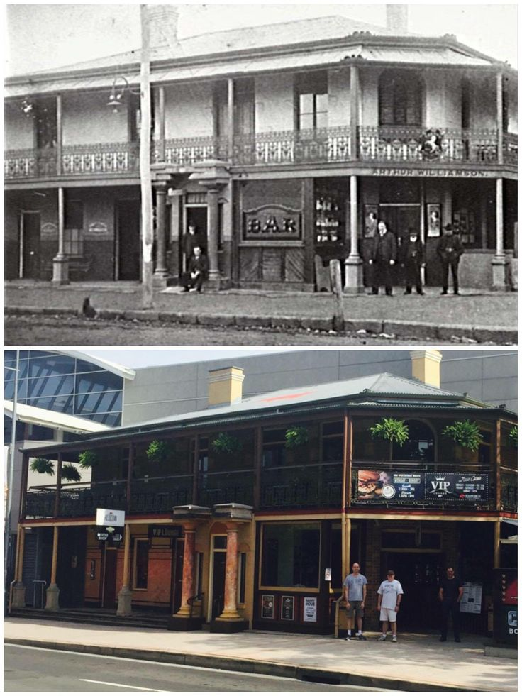 Suspicious looking characters loitering outside the Red Cow Hotel Penrith c1905 > 2016. [Penrith City Council > Curt Flood. By Curt Flood]